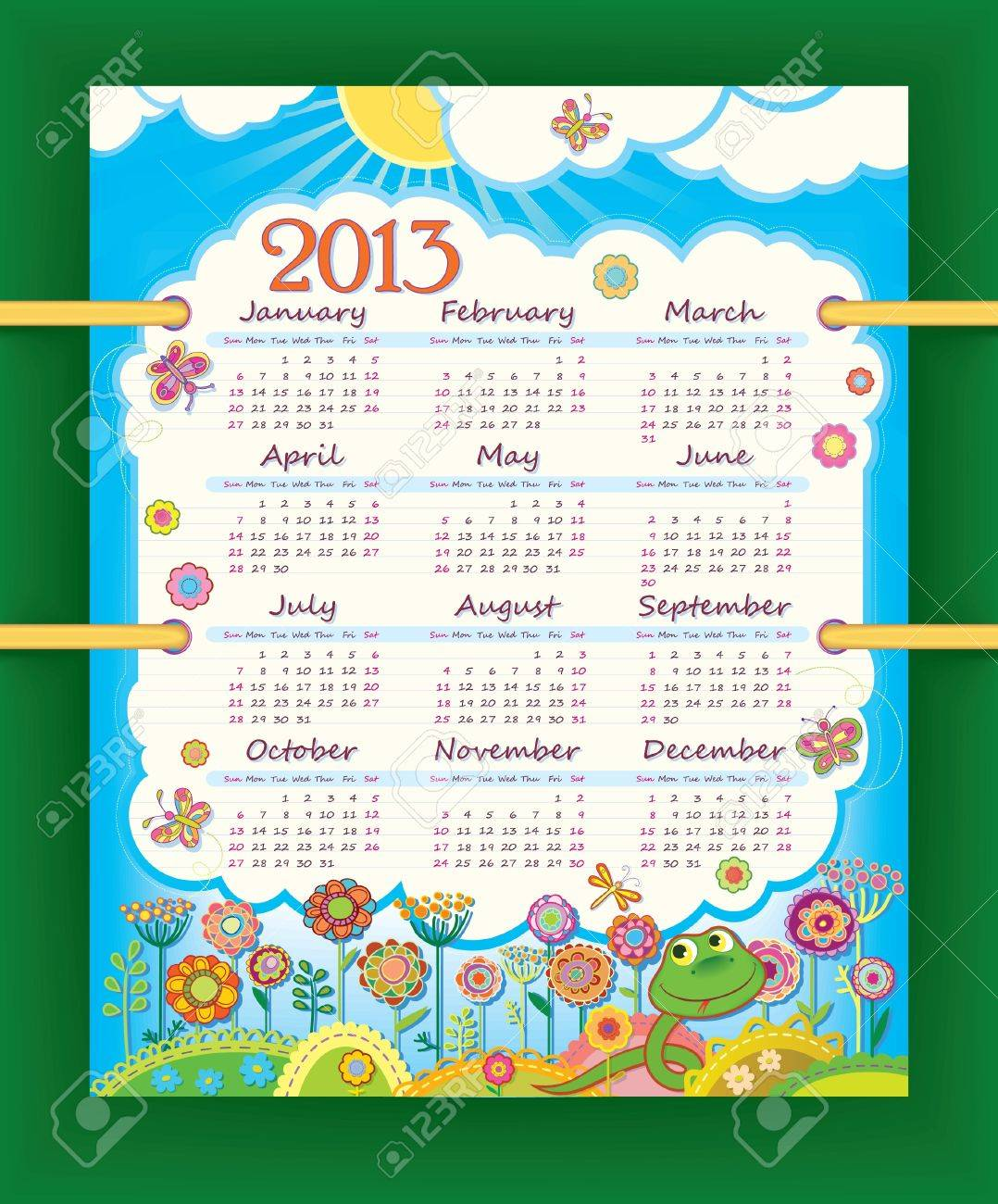 Calendar for 2013. The week starts with Sunday Stock Vector - 15715230