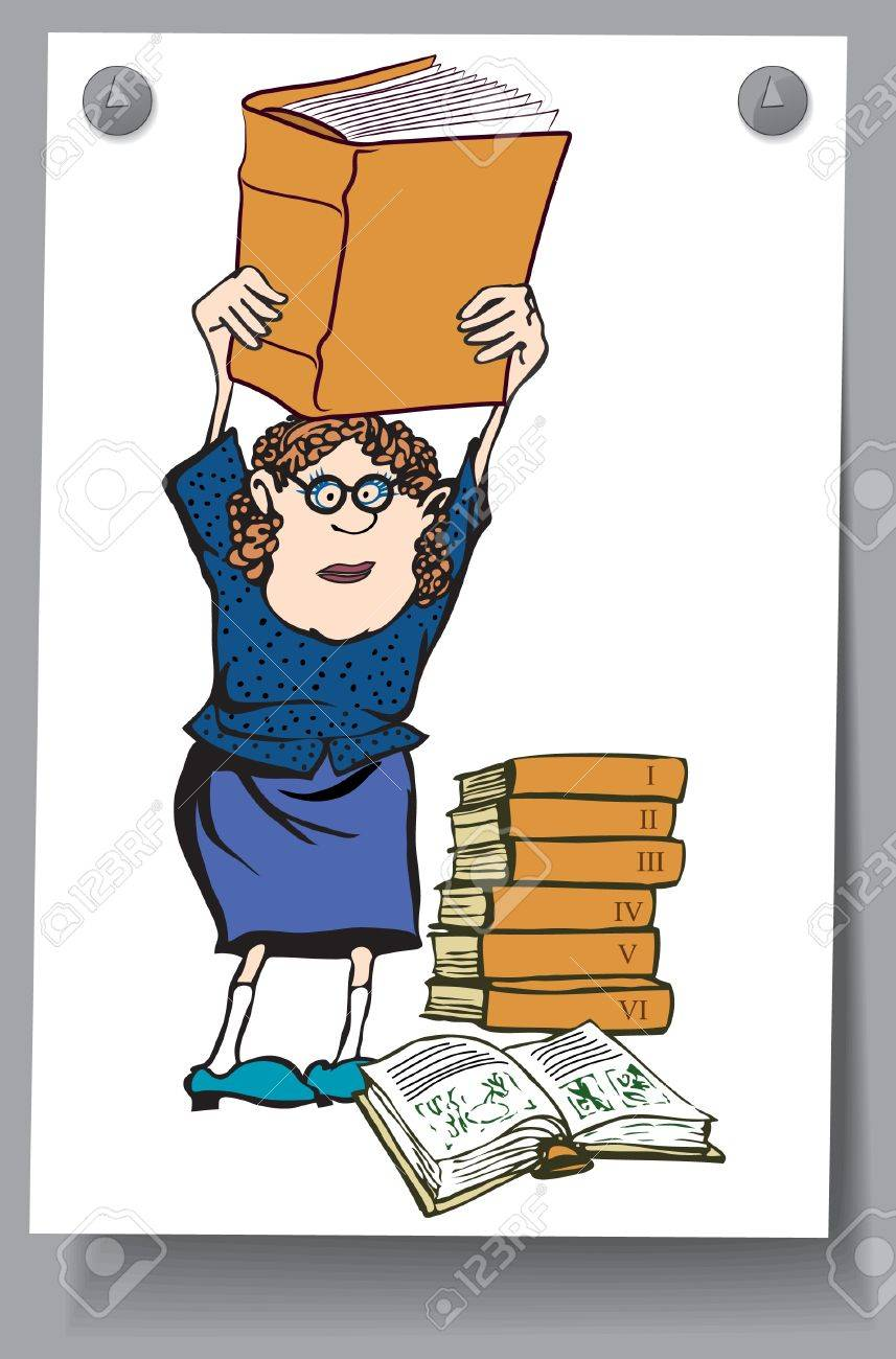 Card - woman holding catalog over his head, next to a stack of books Stock Vector - 16583426