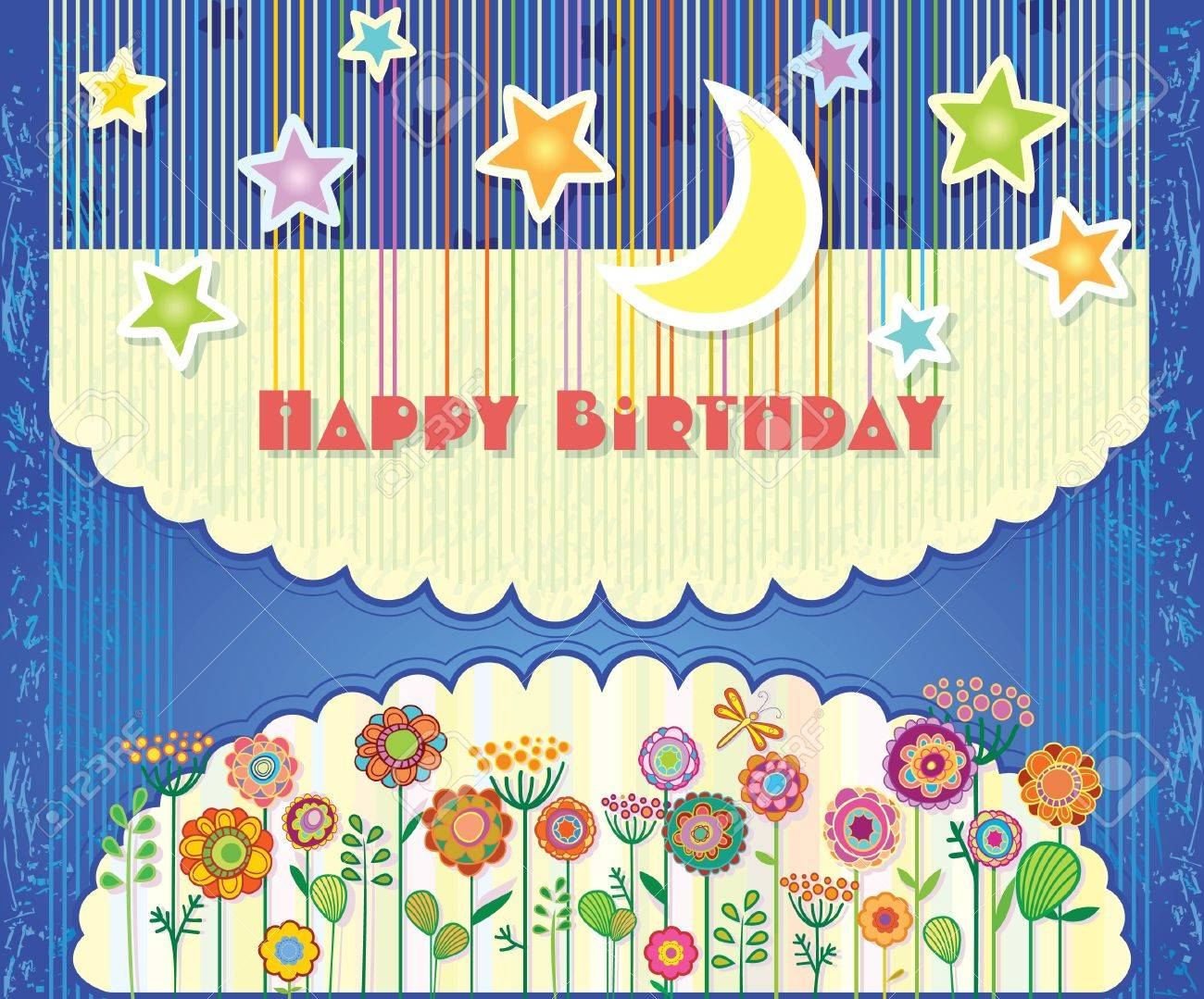 Greeting Card Happy Birthday Flowers And Stars In The Night