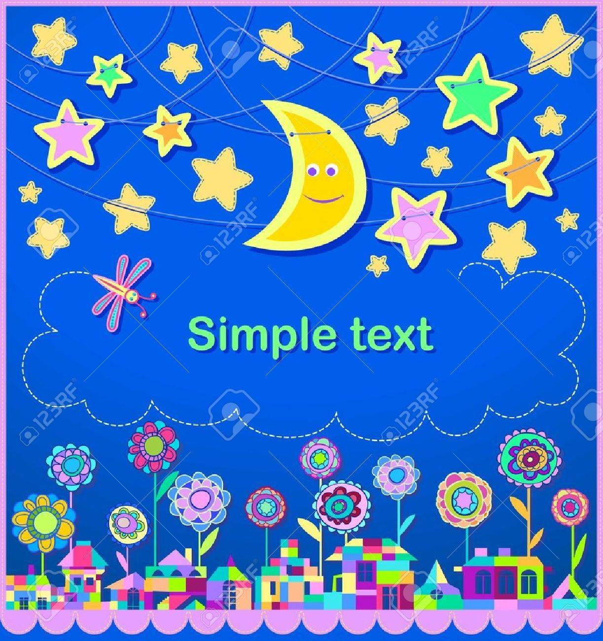Children s holiday card  Stars in the night sky  The city is composed of bright geometric shapes Stock Vector - 16799583