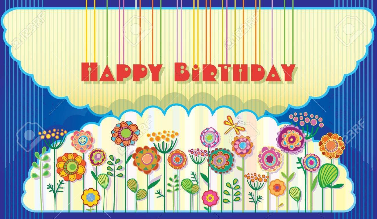 Greeting card Happy Birthday. Flowering meadow in the night sky. Stock Vector - 17009721