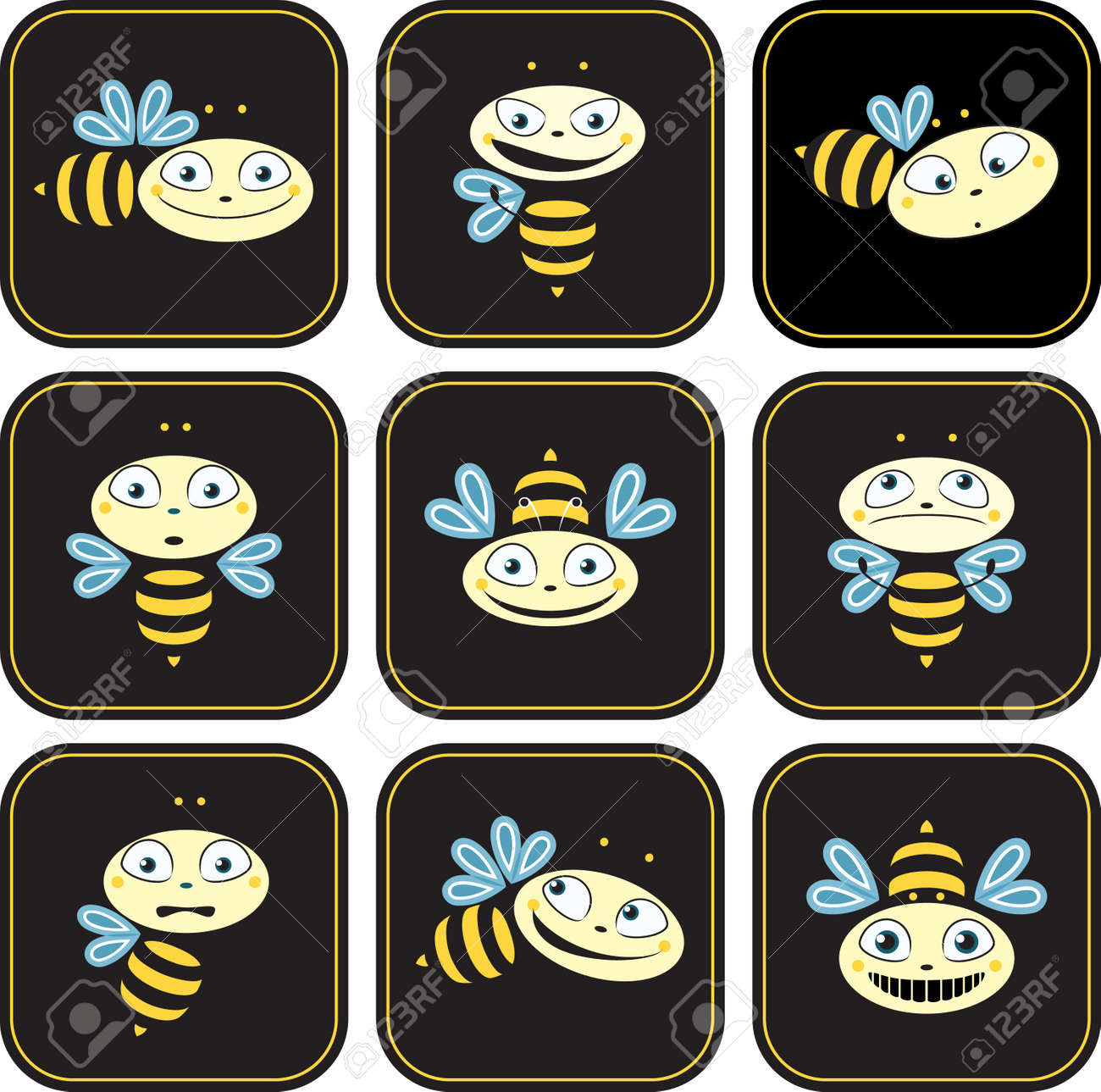 Icons with the bees  different emotions Stock Vector - 18406592