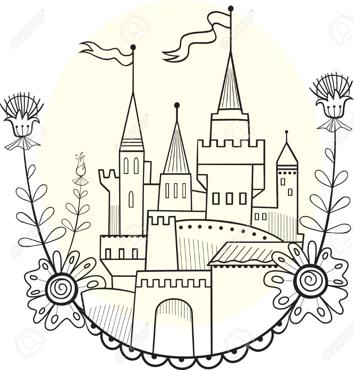 figure fairytale castle linear solution for coloring royalty free