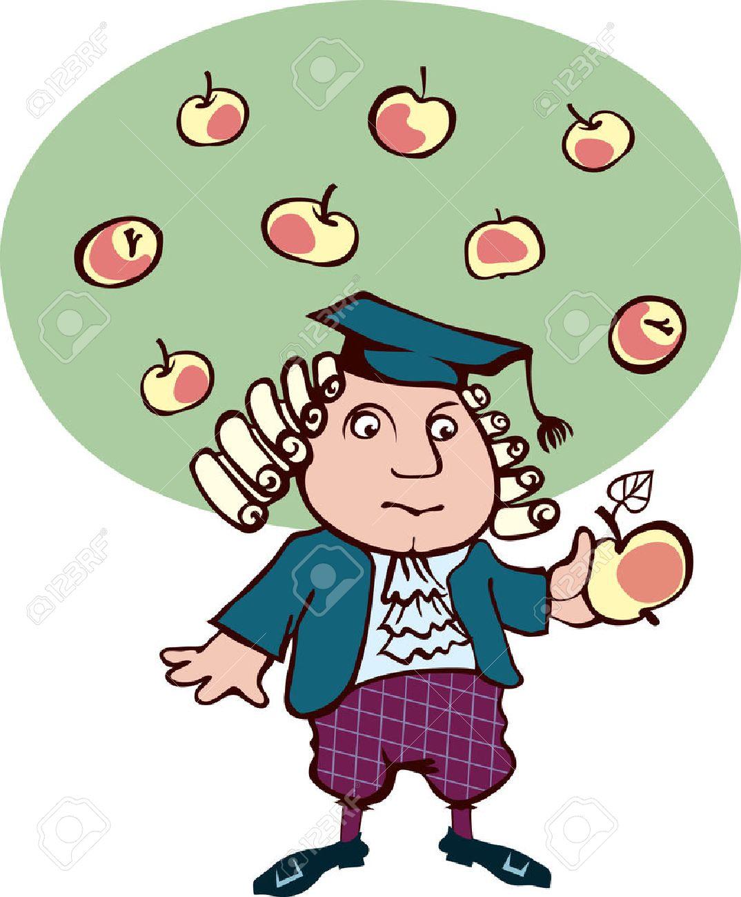 Isaac Newton Glaubte Blick Auf Die Apfel Karikatur Des Großen