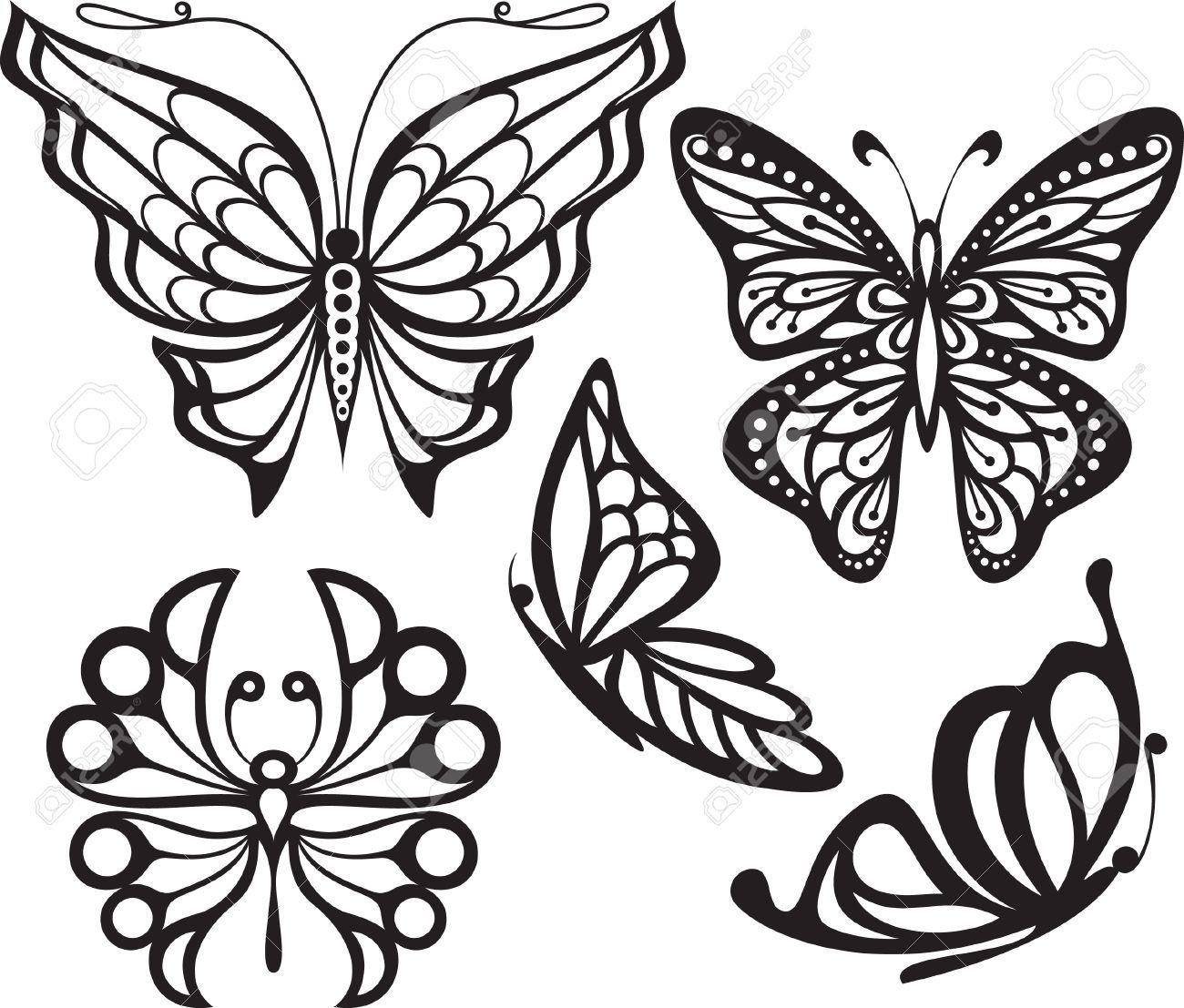 Aile De Papillon Dessin papillon silhouette avec les ailes ouvertes et délicate une image de