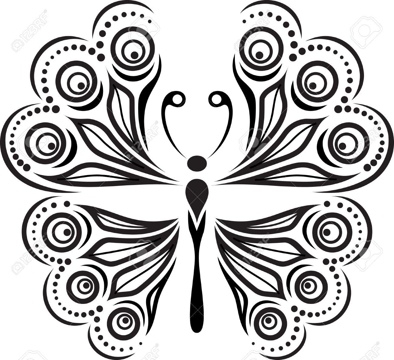 Silueta De La Mariposa Delicada Dibujo De Lineas Y Puntos