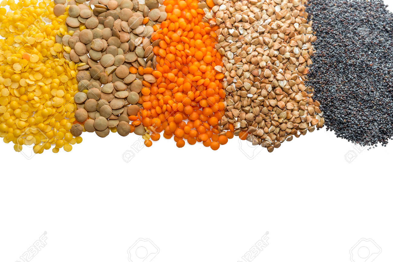 cereal grains: yellow, orange and braun lentils, buckwheat.. stock ... - Bder Braun