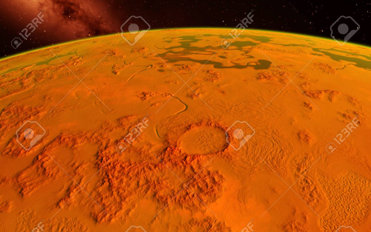 Mars Scientific illustration - planetary landscape far away from Earth in deep space - 38510983