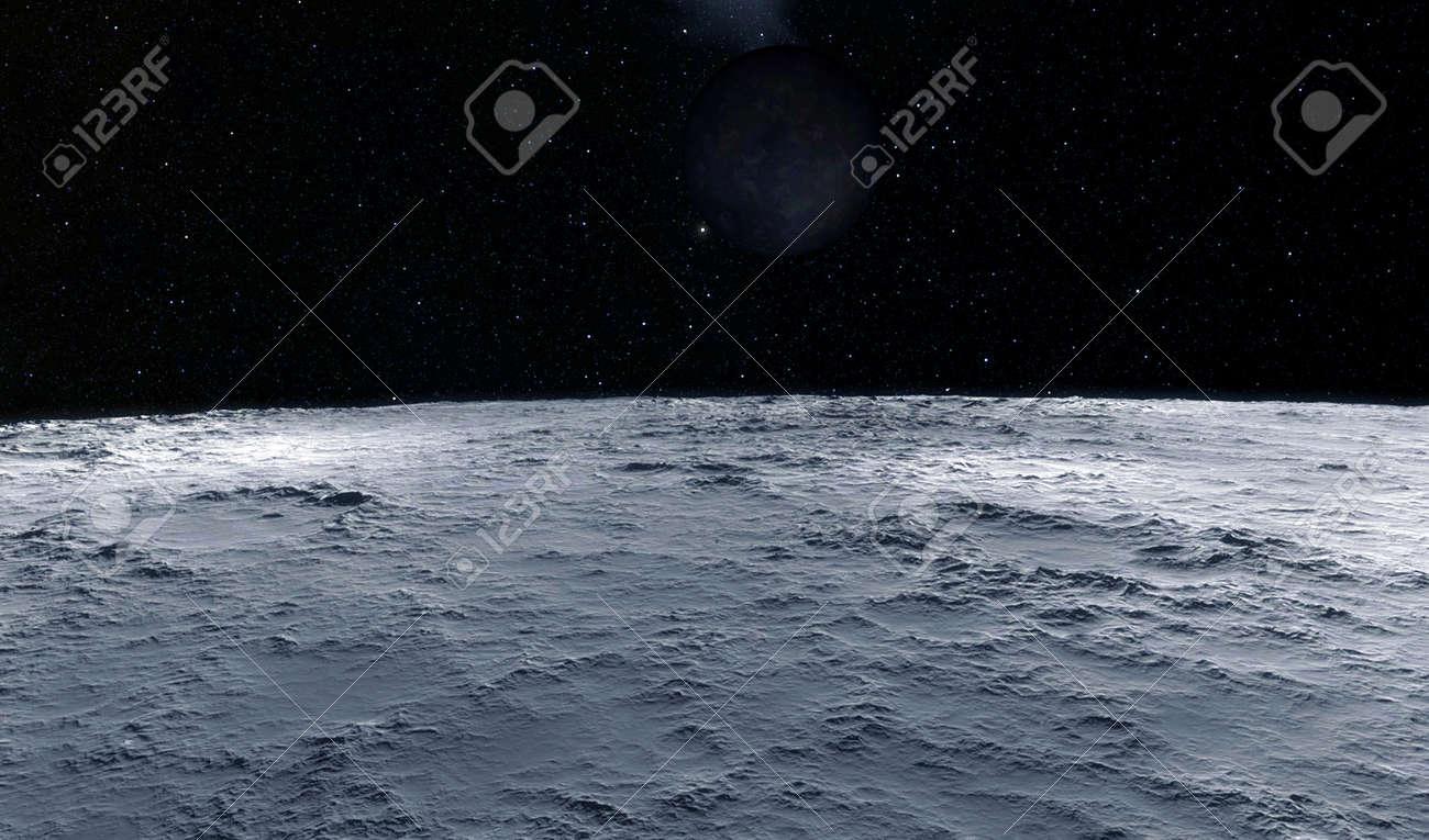 Moon scientific illustration - calm beautyful moon landscape - 38512133
