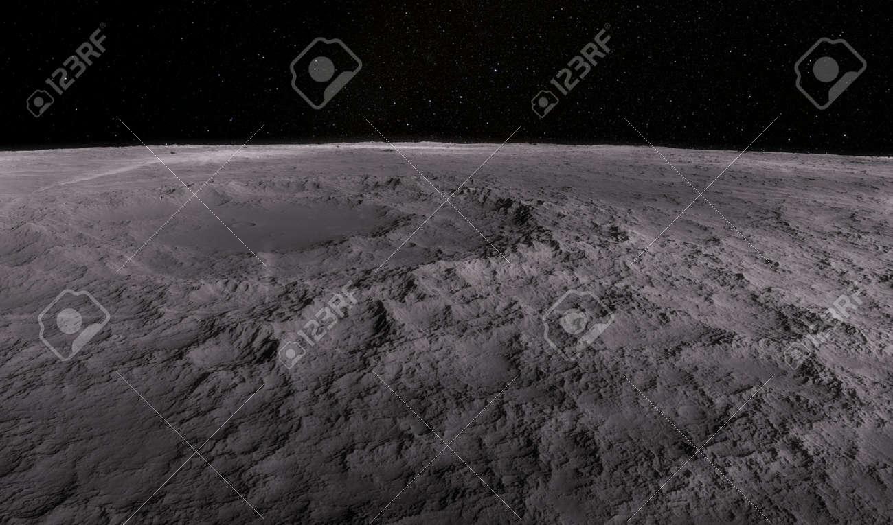 Moon scientific illustration - calm beautyful moon landscape - 38512156