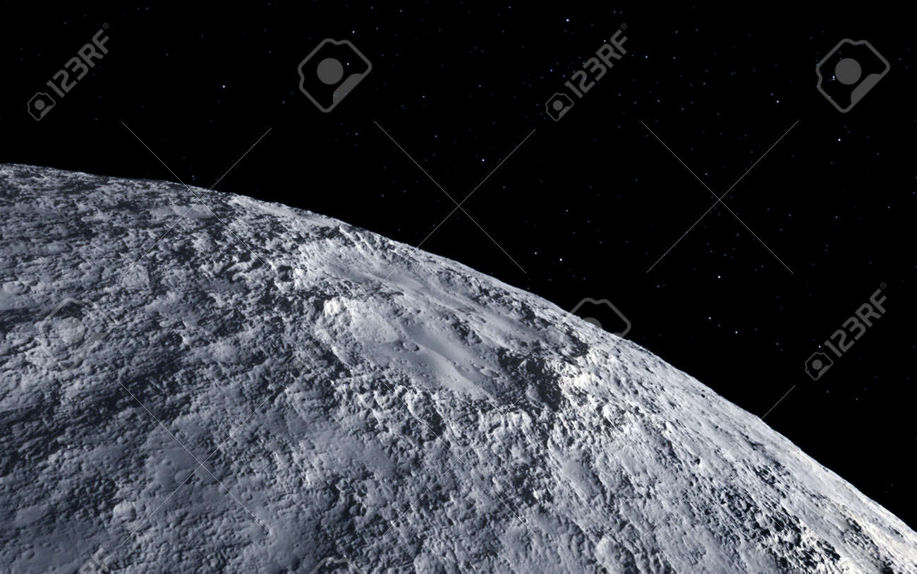 Moon scientific illustration - calm beautyful moon landscape - 38512231