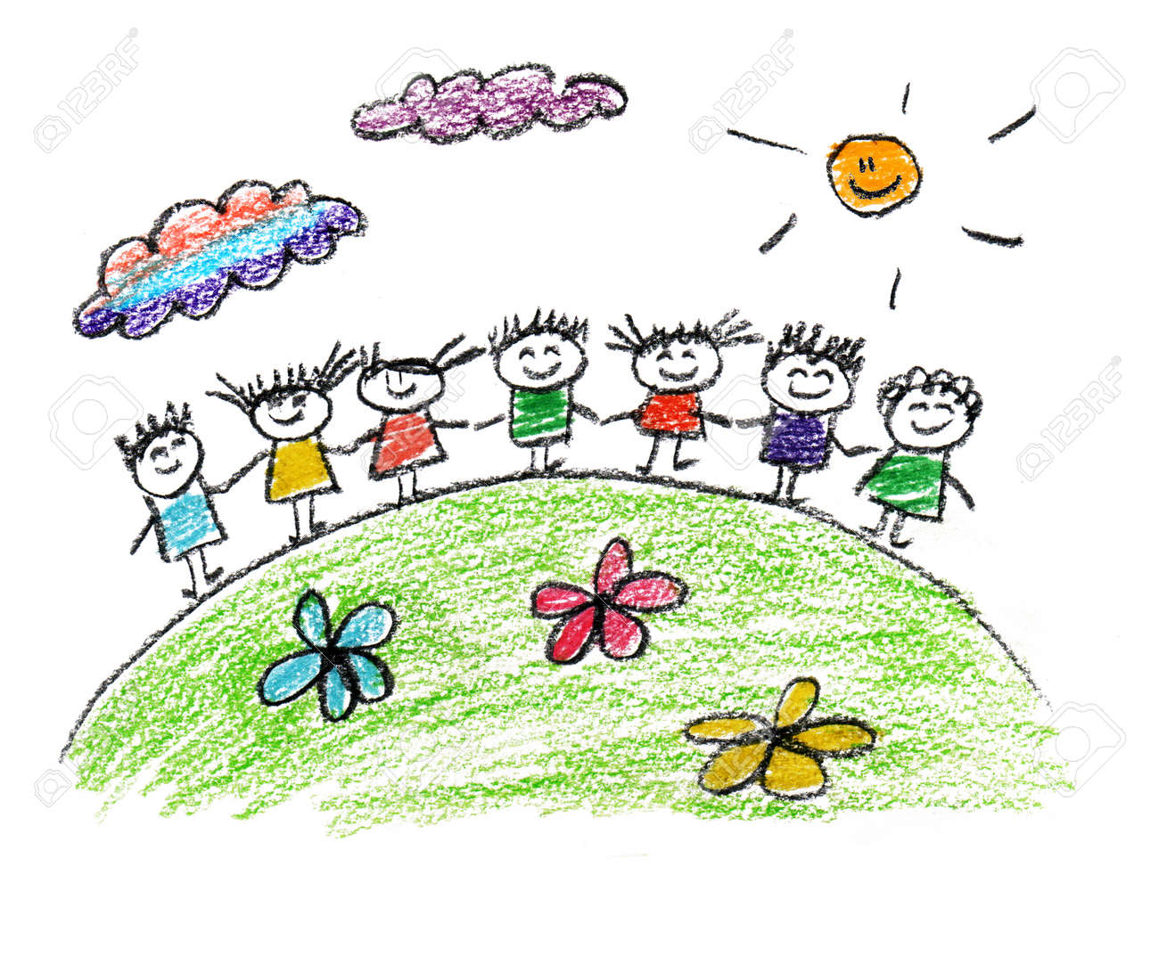 Happy parents and children naive kids drawing - 38583749