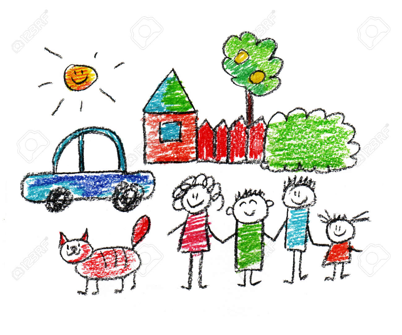 Happy parents and children naive kids drawing - 38583828