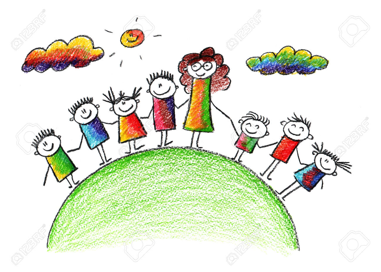 Happy kids. Colorful summer picture. Kids drawing - 39017924