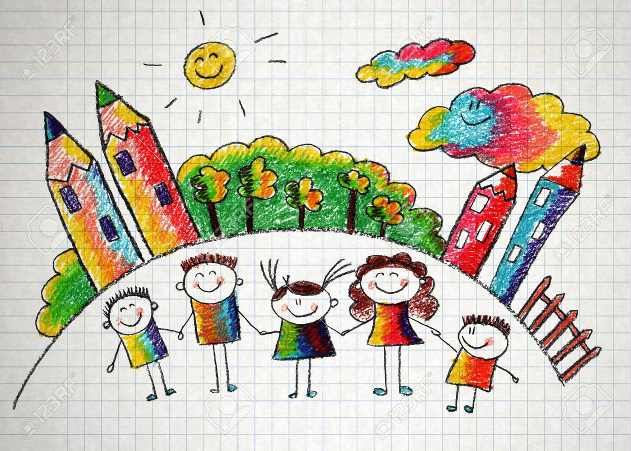 Happy kids with teacher. Picture with sun and clouds - 39105348