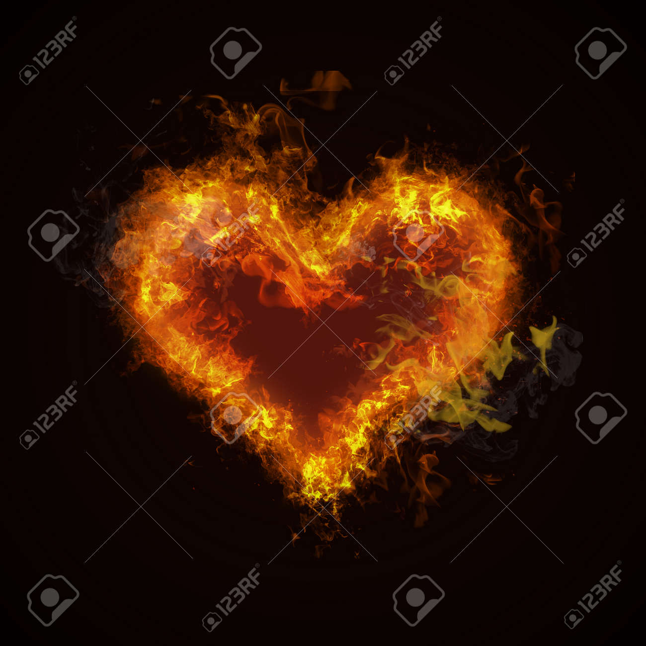 Hot fire heart burning on black background. Passion and desire - 42897984