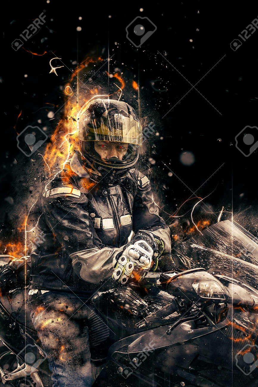 ghost rider. biker with motorcycle and burning fire. stock photo