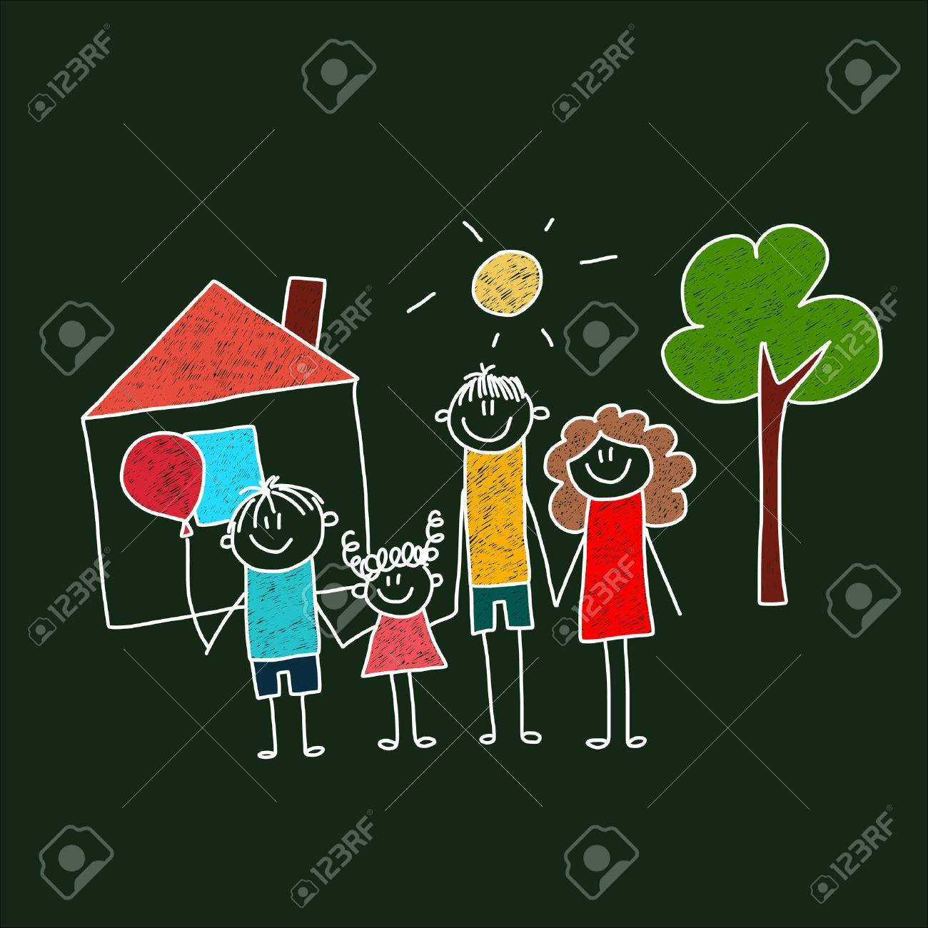 Vector image of happy family Mother, father and children. - 47880517