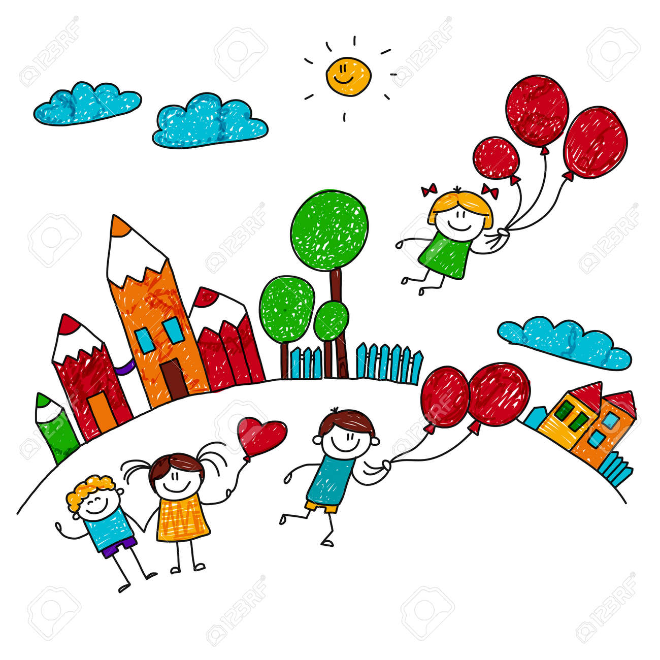 illustration of happy children playing with balloons at school yard kids drawing style stock vector - Images Of Children Playing At School