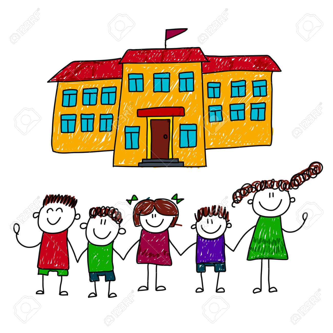 Illustration Of Happy Children At School Yard Kids Drawing Royalty Free Cliparts Vectors And Stock Illustration Image 48793179