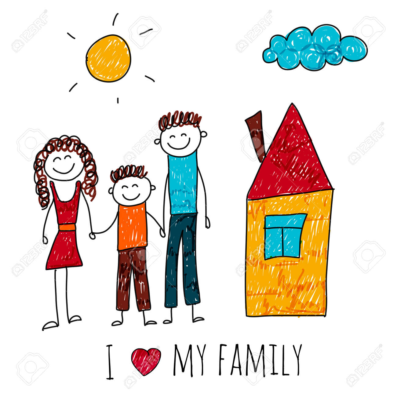 Image Of Happy Family With House Kids Drawing I Love My Family Royalty Free Cliparts Vectors And Stock Illustration Image 48793183