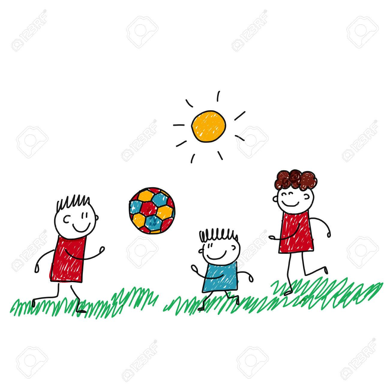 Image Of Happy Kids Playing Football Kids Drawing Royalty Free Cliparts Vectors And Stock Illustration Image 48793189