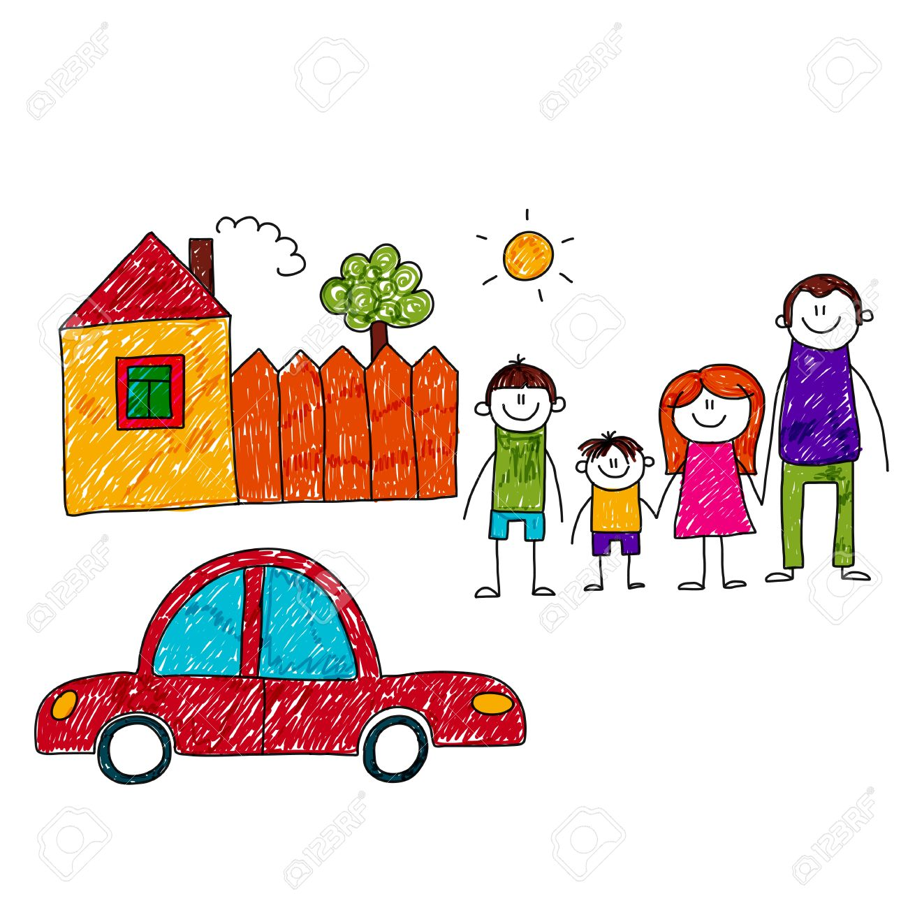 Image Of Happy Family With Car And House Kids Drawing Royalty Free