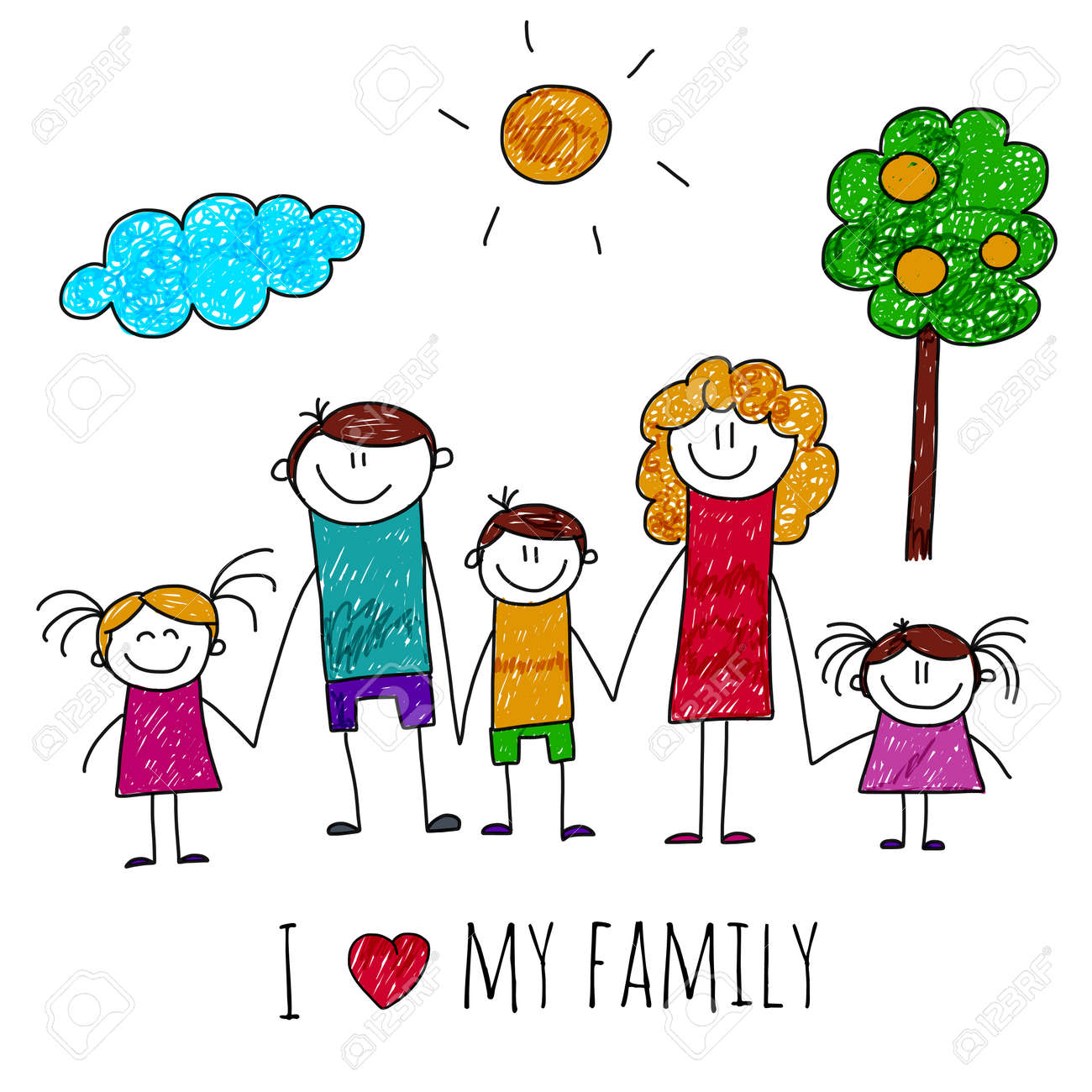 Image Of Big Happy Family. Kids Drawing Royalty Free Cliparts ...