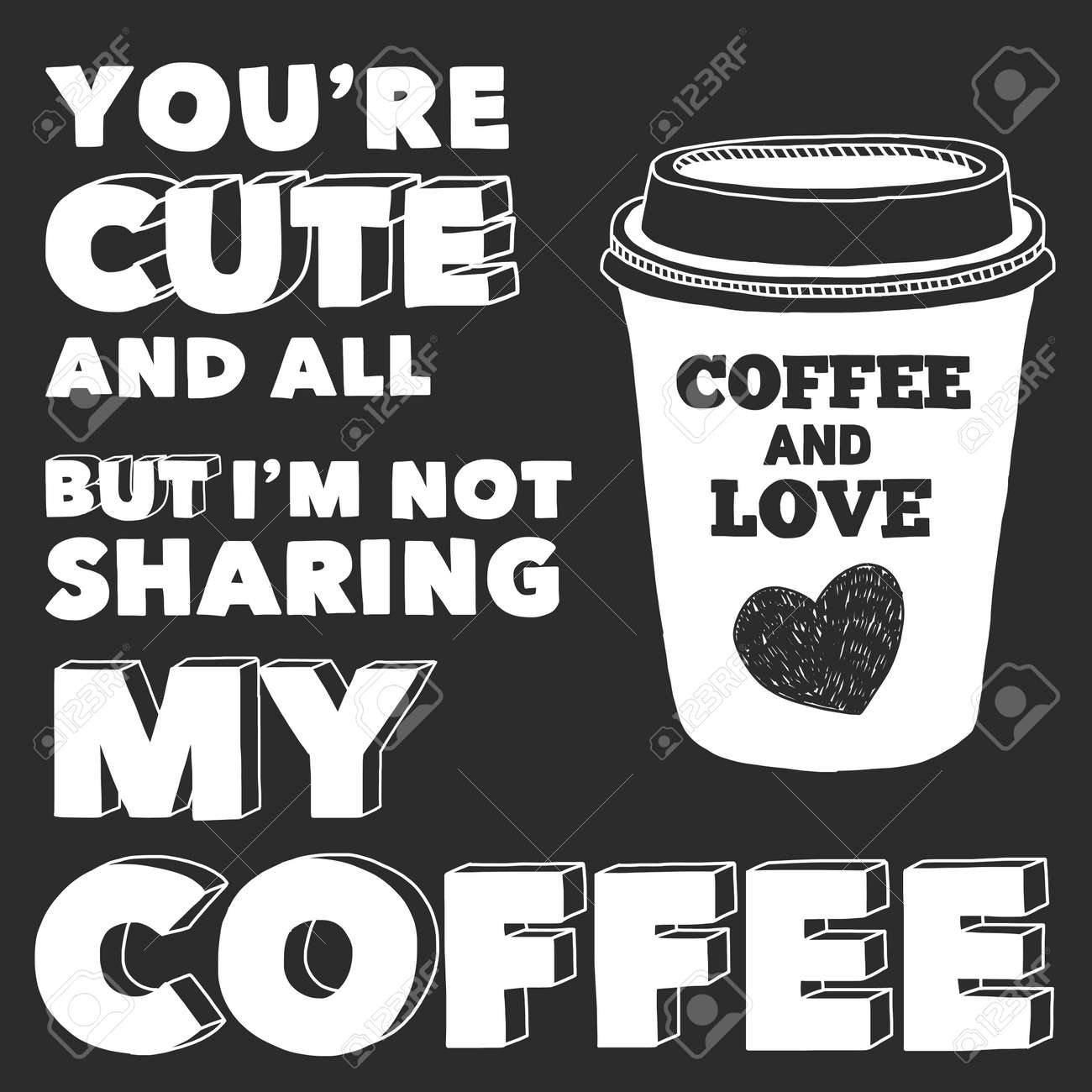Vector image of blackboard with quote about coffee - 50990307