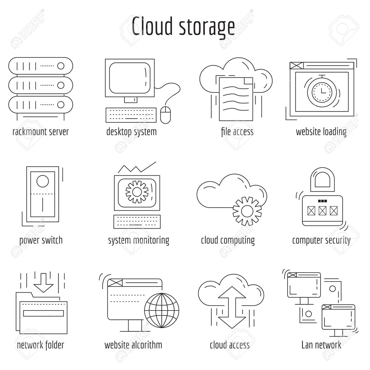 Vector set of linear icons Cloud storage and networking - 51573194