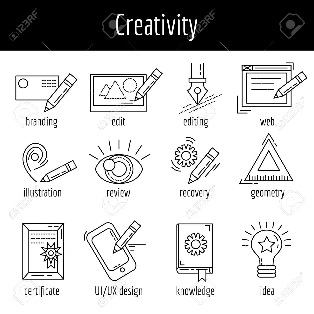 Vector set of icons about creative process Linear images - 51573200