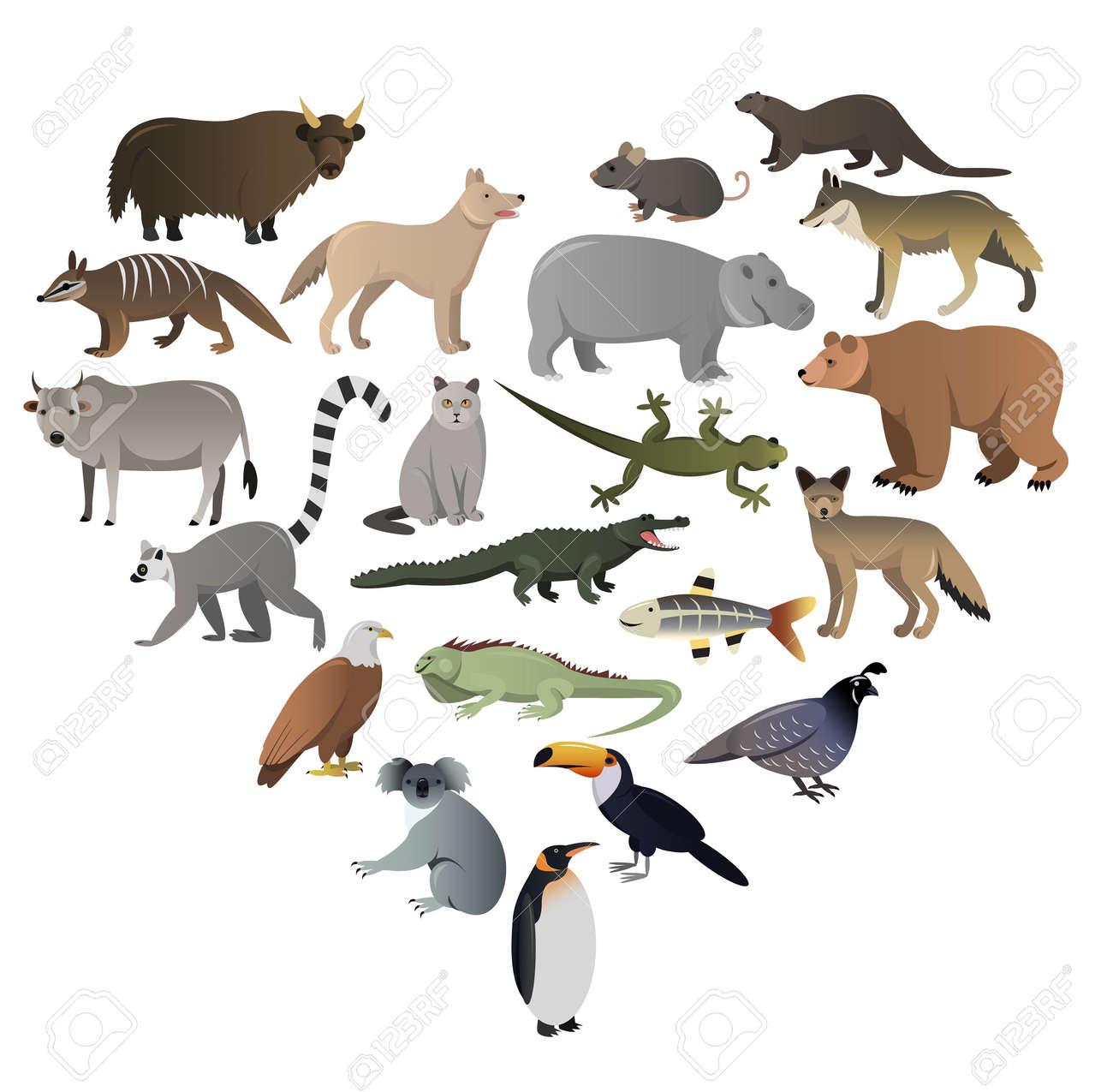 Vector image of wild animals in ZOO - 52412224