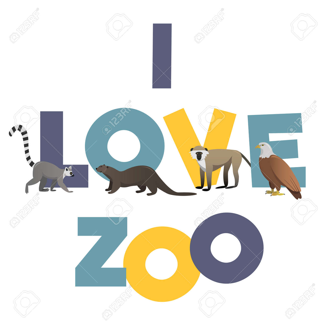 Zoo poster design - I Love Zoo Vector Poster With Animals Images For Any Kind Design Stock Vector