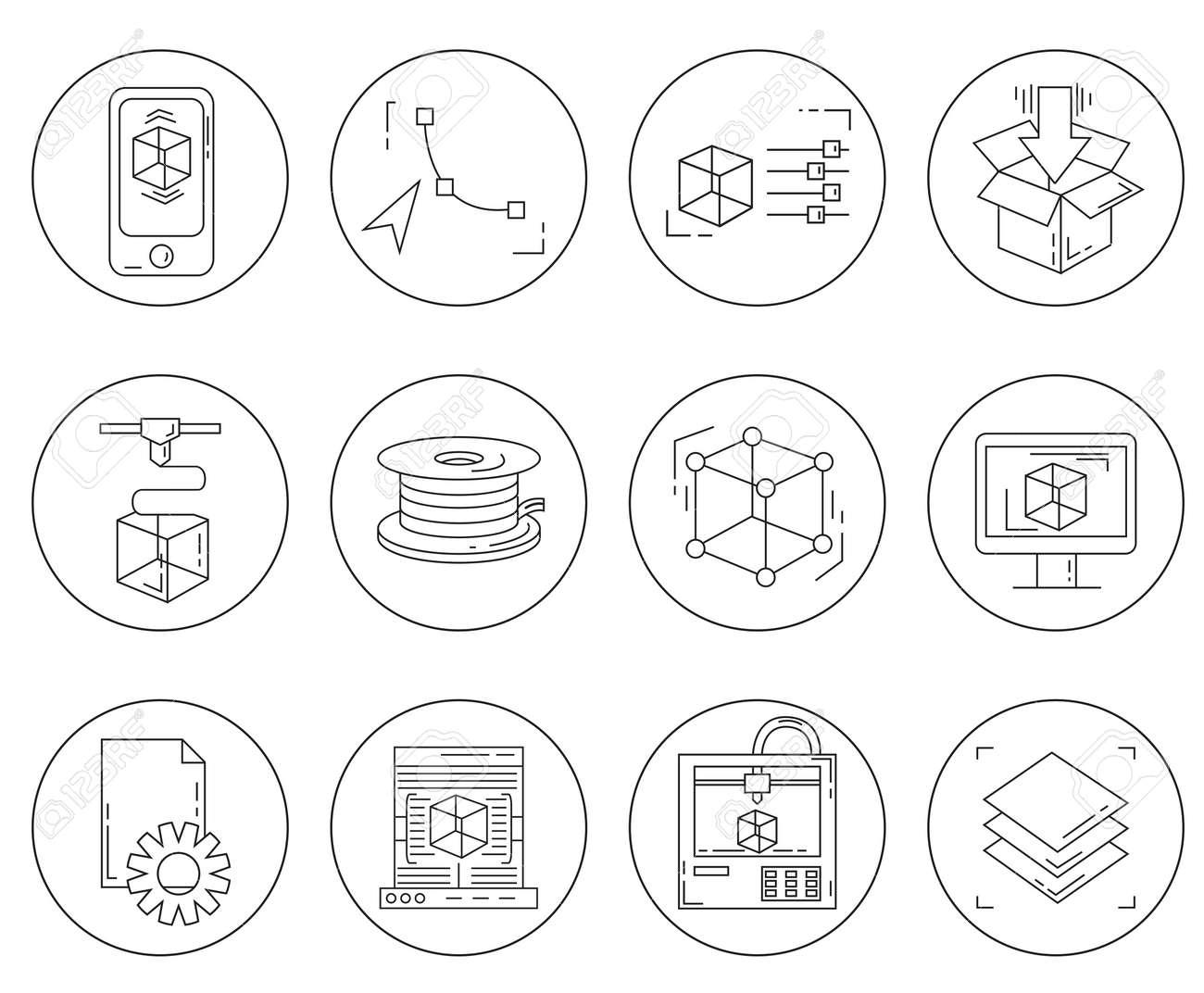 3d print icons set vector collection of printing symbols in 3d print icons set vector collection of printing symbols in thin line style stock vector buycottarizona Choice Image
