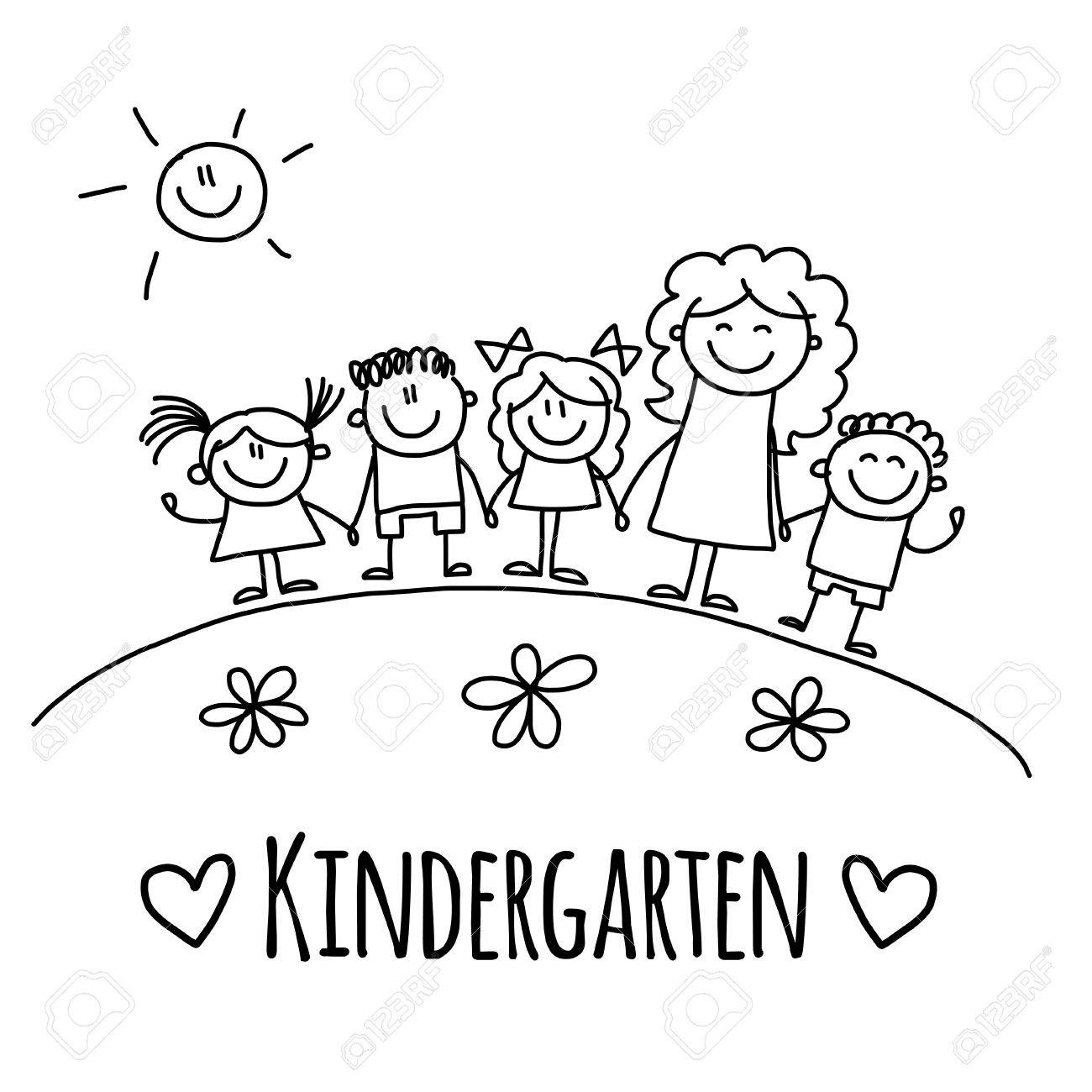 Image With Kindergarten Or School Kids Hand Drawn Picture Royalty ...