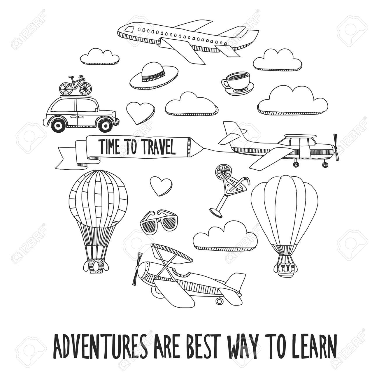 hand drawn doodle elements travel and adventure kids drawing royalty