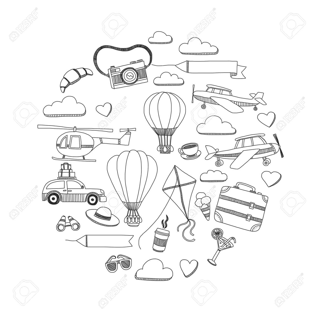 Hand Drawn Doodle Elements Travel And Adventure Kids Drawing Royalty Free Cliparts Vectors And Stock Illustration Image 54248345