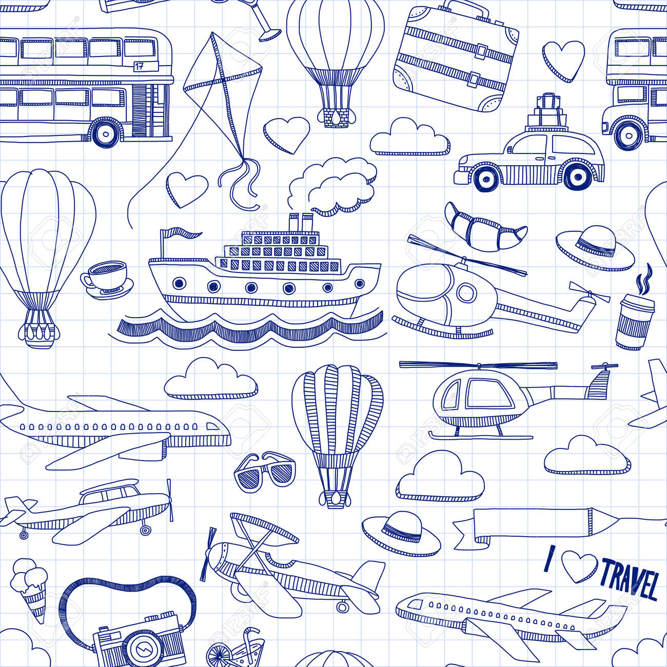 Travel hand drawn elements Doodle travel elements on checked paper - 54248488