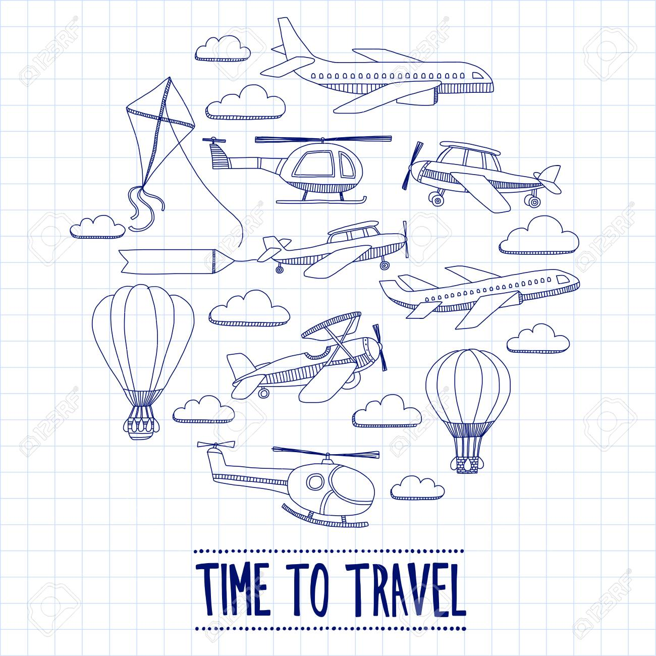 Doodle set of images Time to travel Hand drawn picture - 54463692