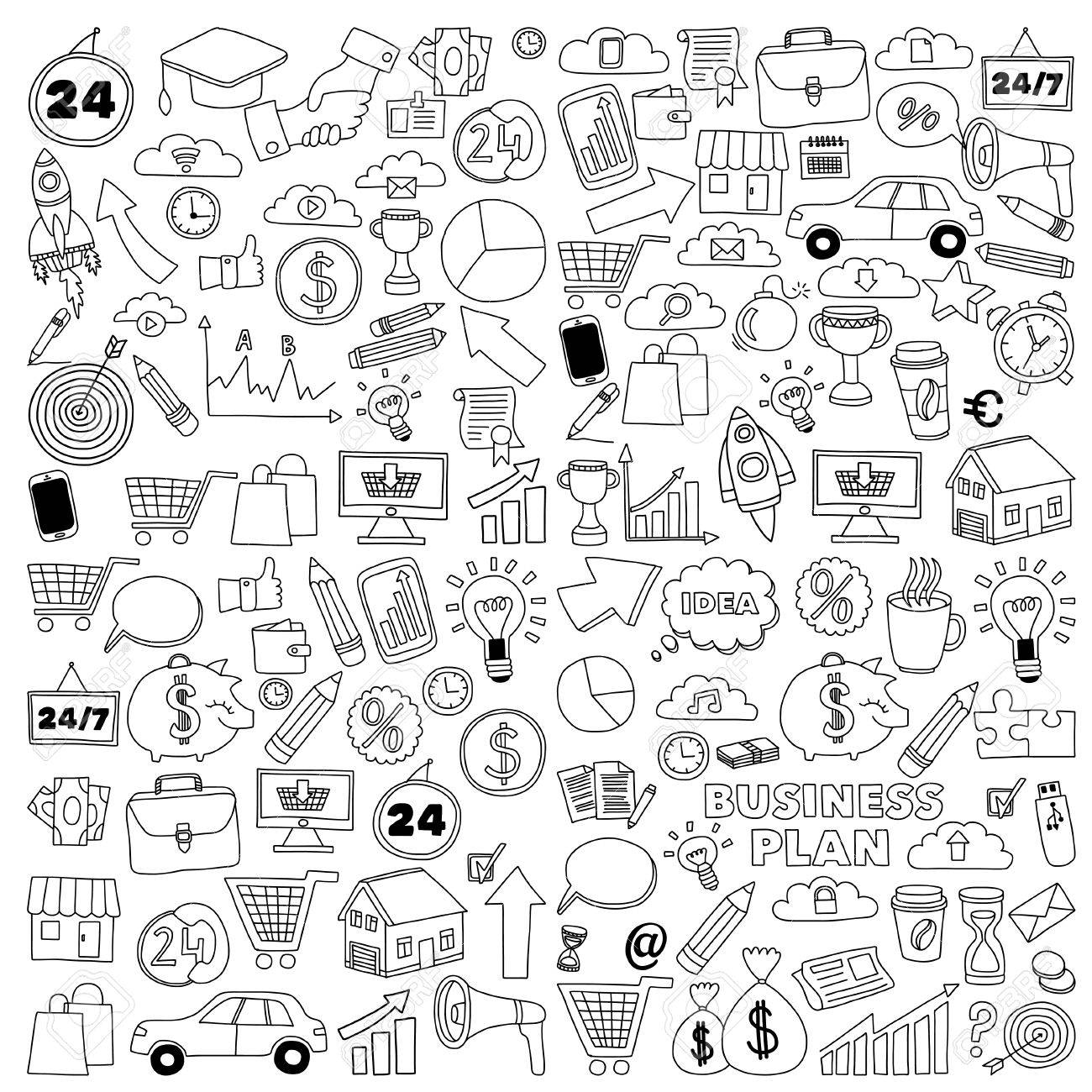 Vector set of doodle business icons Marketing Business Online shopping Bank Startup Brain Storm - 55801988