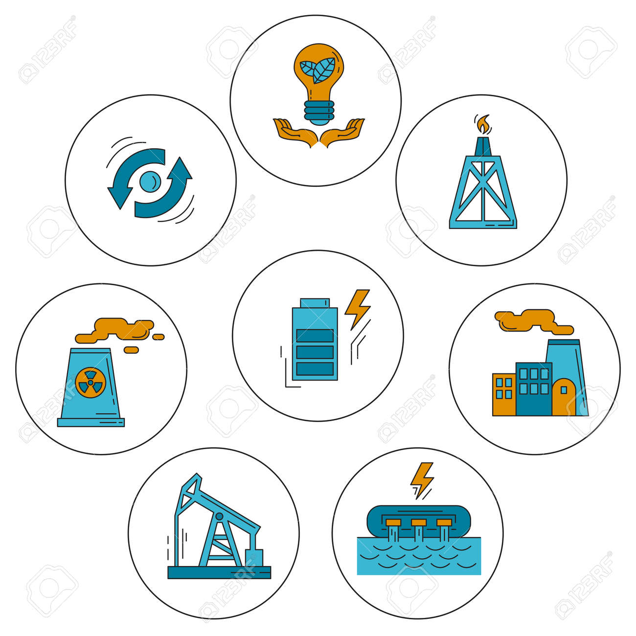 Energy Ecology and Pollution Vector set of icons Linear design - 58000441