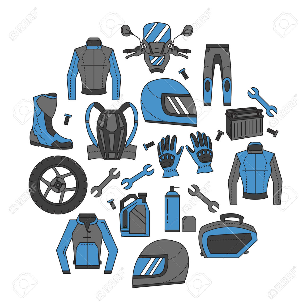 Vector Set Of Linear Motorcycle Icons Parts And Clothes Simple ...