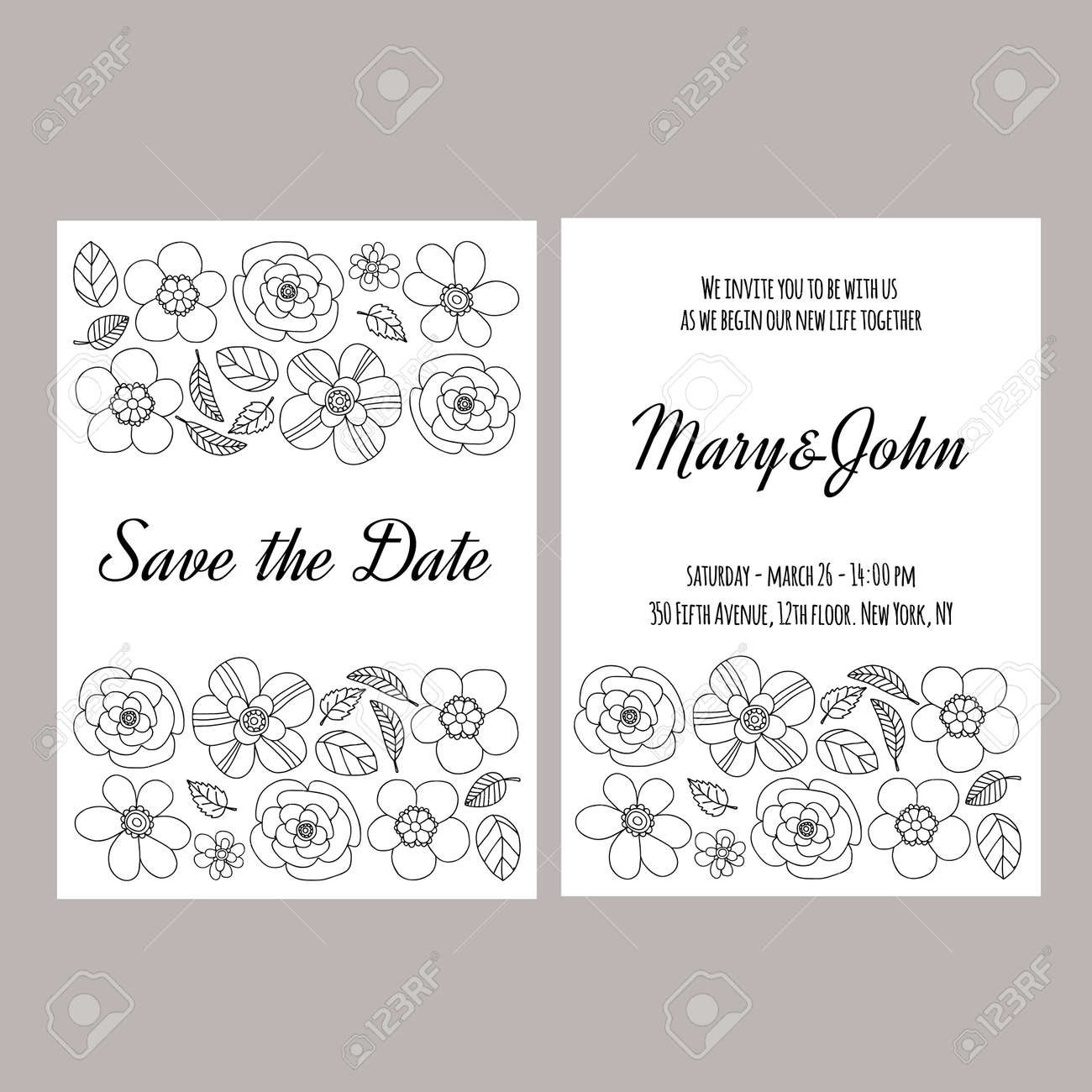Wedding invitation vector template hand drawn elements royalty free vector wedding invitation vector template hand drawn elements stopboris Image collections