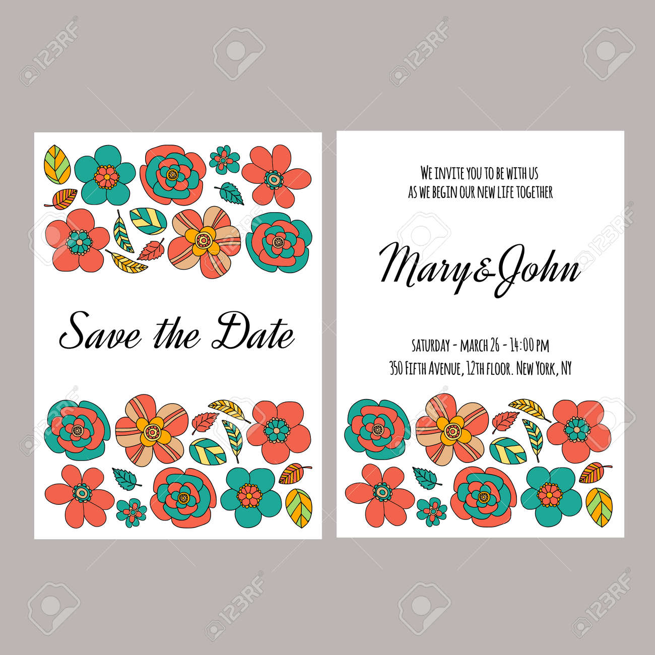 Wedding Invitation Vector Template Hand Drawn Elements Royalty Free ...