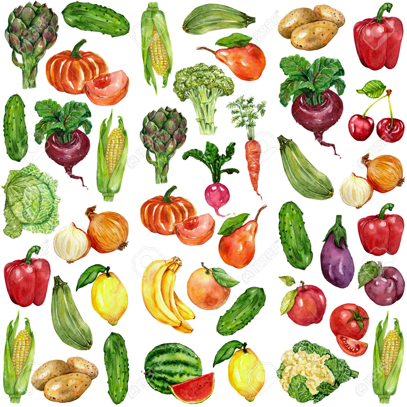 Watercolor set with fruits and vegetables Hand drawn image - 60347553