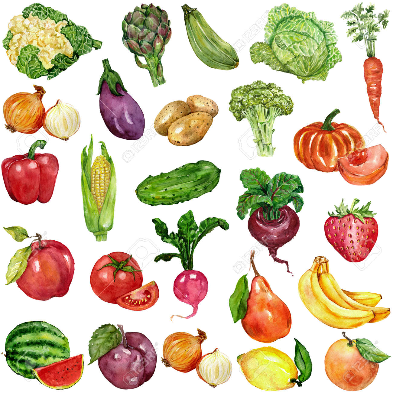 Watercolor set with fruits and vegetables Hand drawn image - 60351764