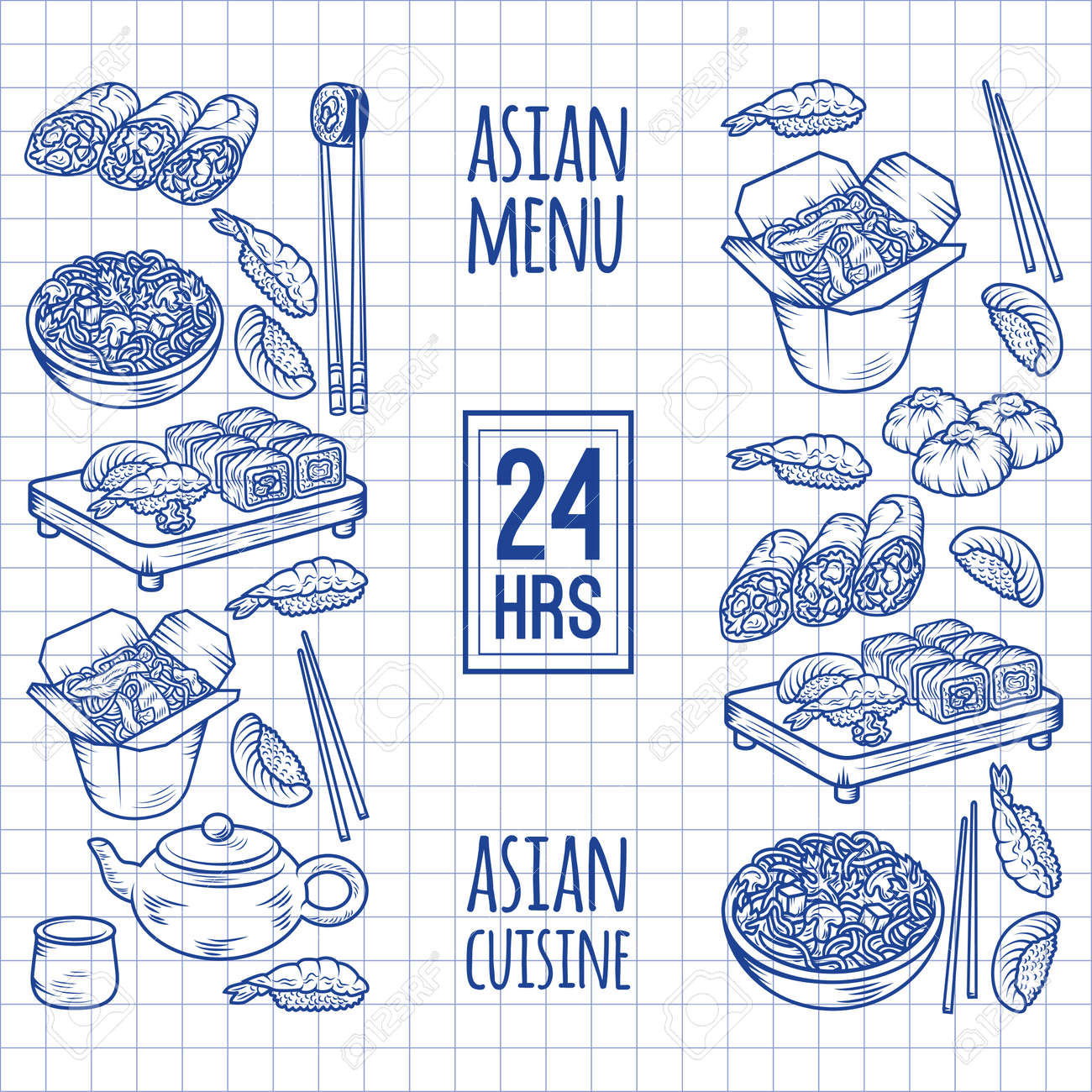 Set With Asian And Chinese Cuisine Icons Vector Hand Drawn Elements For Any Kind Of Design