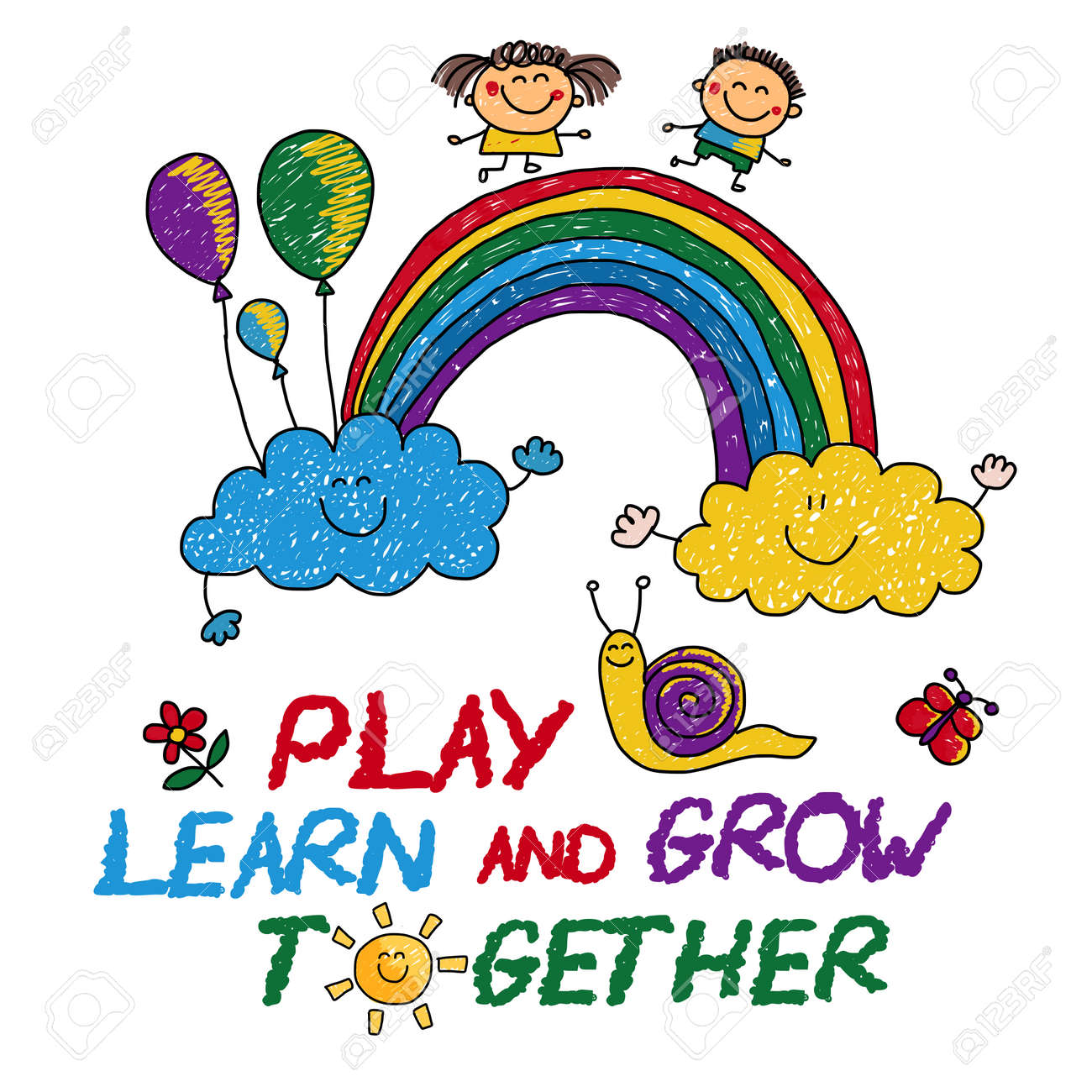 Play Learn and grow together Hand drawn vector image - 63063065