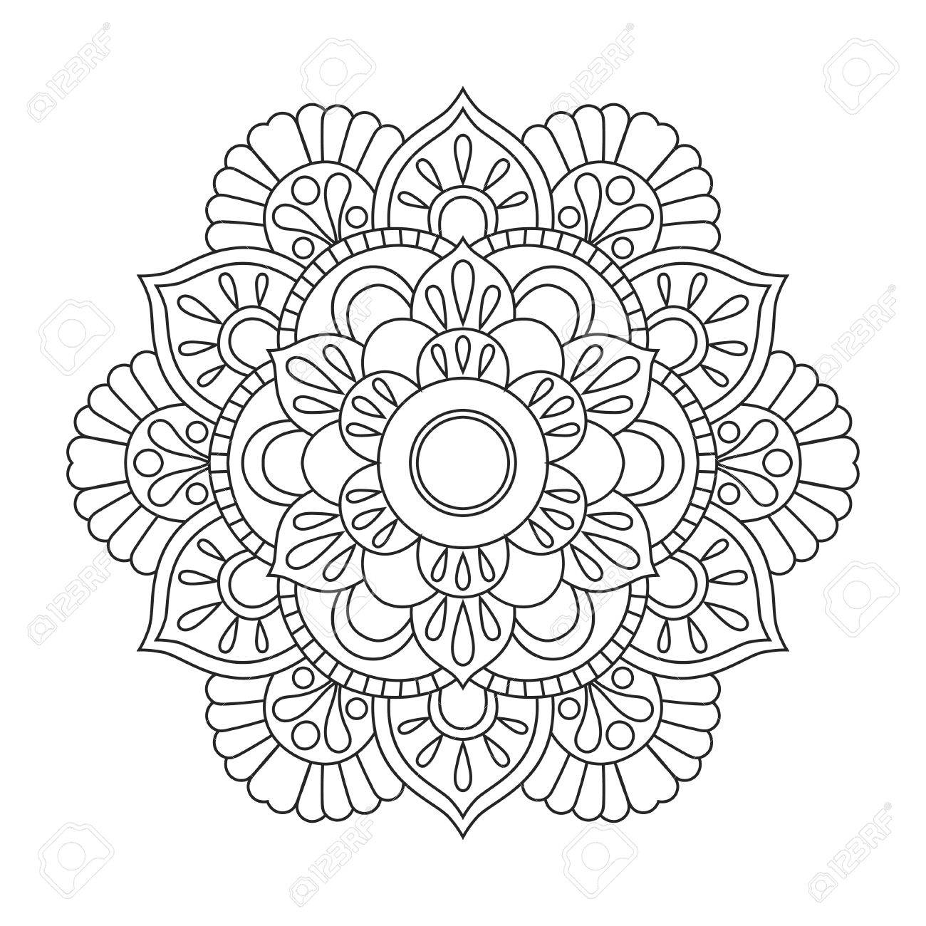 Outline Mandala For Coloring Book Anti Stress Therapy Pattern Decorative Round Ornament