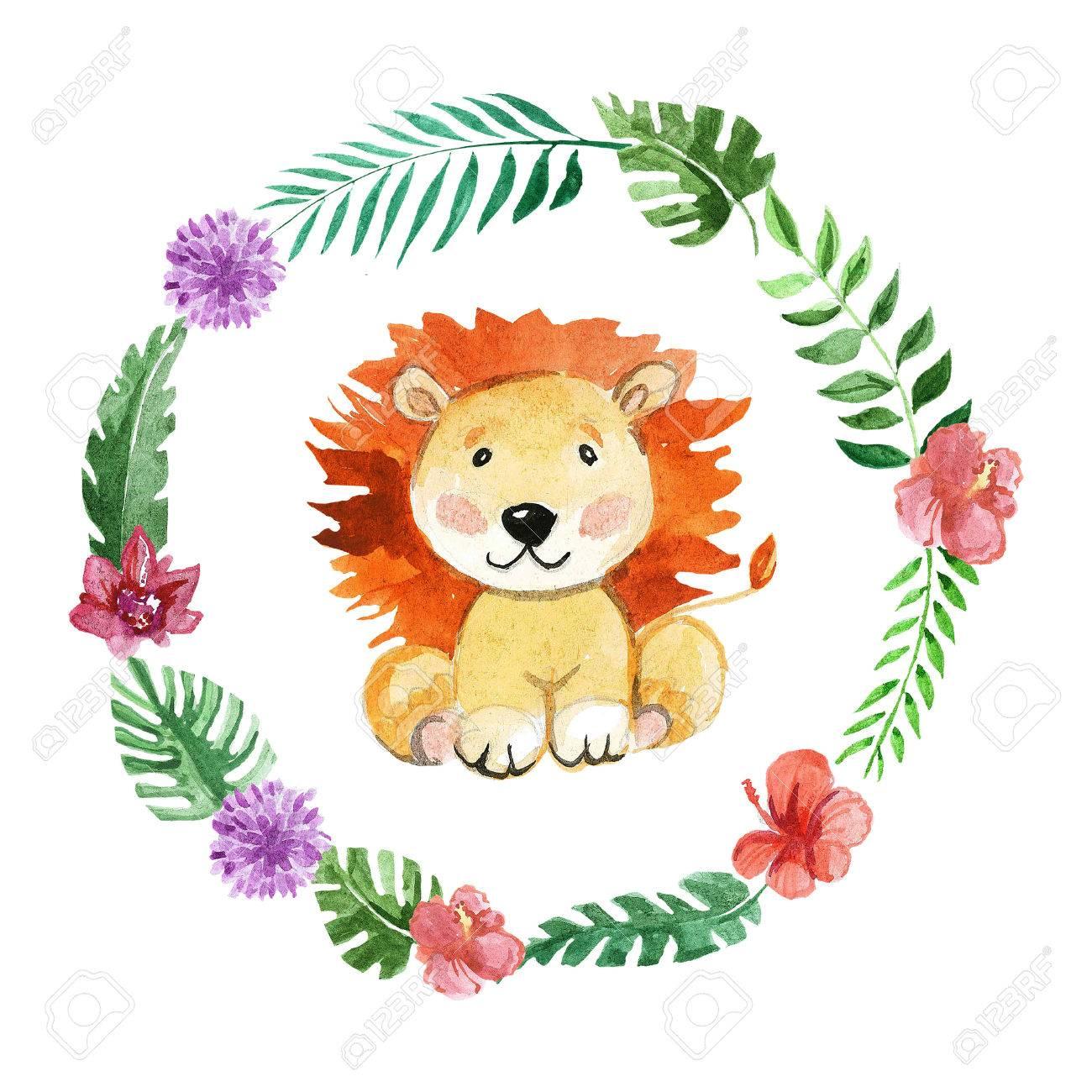 Cute lion Animal for kindergarten, nursery, children clothing, baby patterns, baby shower - 67279867